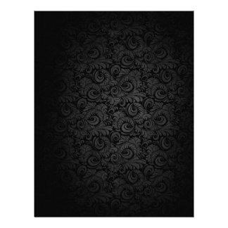 黒い花パターンレターヘッド レターヘッド