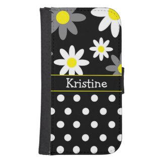 黒い花及び水玉模様の財布の電話箱 財布型Galaxy S4ケース