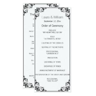 黒い華麗さの結婚式プログラム 10.2 X 23.5 インビテーションカード