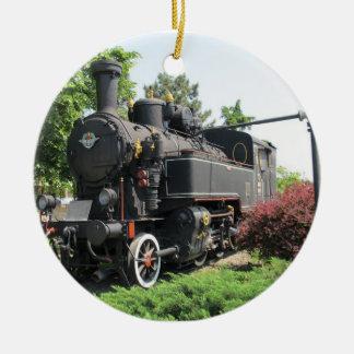 黒い蒸気機関の列車のオーナメント セラミックオーナメント