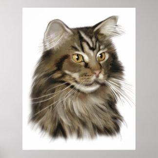 黒い虎猫のメインのあらいぐま猫 ポスター