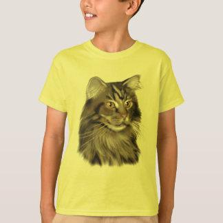 黒い虎猫のメインのあらいぐま猫 Tシャツ