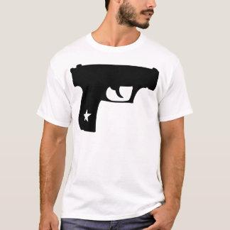 黒い警察官のピストル星銃 Tシャツ