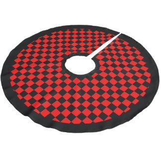 黒い赤のチェック模様の黒いボーダークリスマスの休日 ブラッシュドポリエステルツリースカート