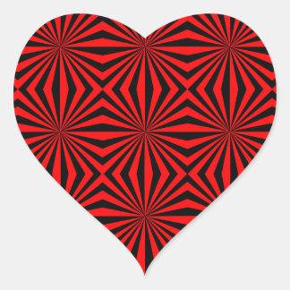 黒い赤の抽象芸術の万華鏡のように千変万化するパターンの幾何学的なパターン ハートシール