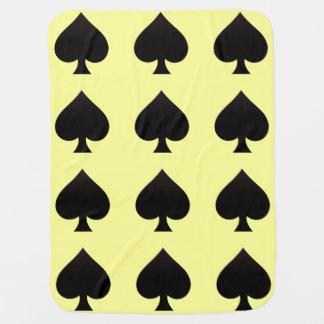 黒い踏鋤-カードスーツ、トランプのポーカー、やり ベビー ブランケット