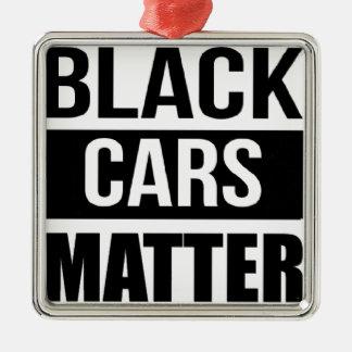 黒い車の問題-おもしろいなガレージ車の喜劇のユーモア メタルオーナメント