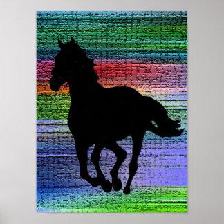 黒い連続した馬ポスター ポスター