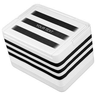 黒い重量の横のプレッピーなストライプ#3の一流のモノグラム IGLOOクーラーボックス