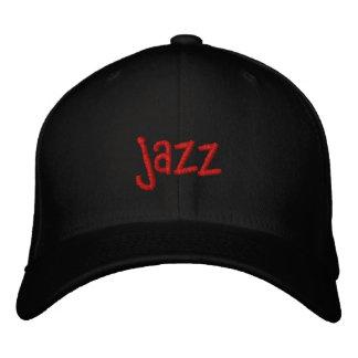 黒い野球帽のジャズ単語 刺繍入りキャップ