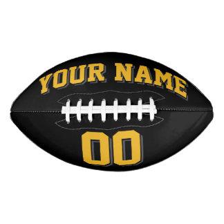 黒い金ゴールドおよびチャコールグレーの習慣のフットボール アメリカンフットボール