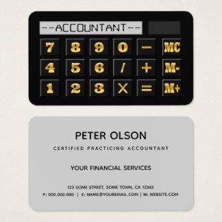 黒い金ゴールドおよび灰色の計算機CPA税の会計士 名刺