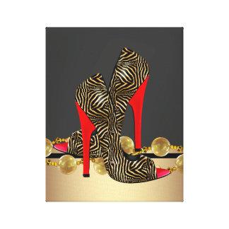 黒い金ゴールドおよび赤いシマウマのハイヒールの靴 キャンバスプリント