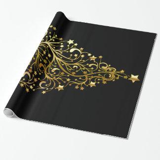 黒い金ゴールドのエレガントでシックなクリスマスツリーの星 ラッピングペーパー