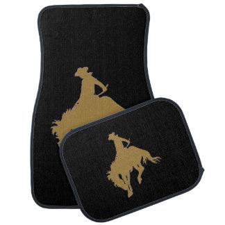 黒い金ゴールドのカウボーイの強く反対する馬 カーマット