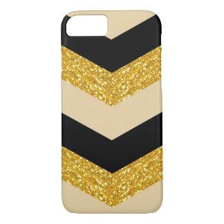 黒い金ゴールドのグリッターのシェブロンのiPhone 7の箱 iPhone 8/7ケース