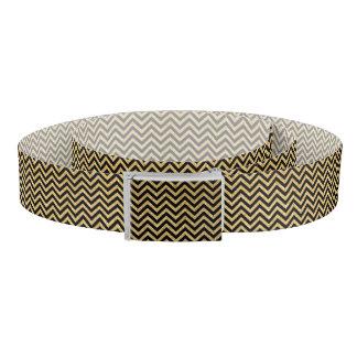 黒い金ゴールドのグリッターのジグザグ形のストライプなシェブロンパターン ベルト