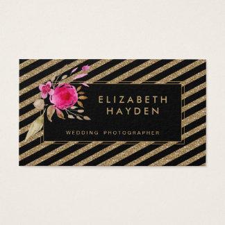 黒い金ゴールドのグリッターのストライプな花の名刺 名刺