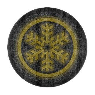 黒い金ゴールドのグリッターの雪片の円形のまな板 カッティングボード