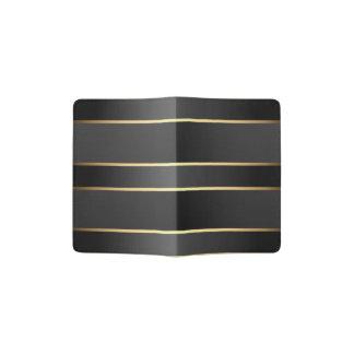 黒い金ゴールドのストライプなパターン パスポートカバー