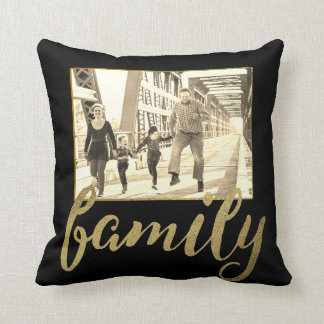 黒い金ゴールドのセピア色の家族写真 クッション
