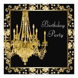 黒い金ゴールドのダマスク織のシャンデリアの誕生会 13.3 スクエアインビテーションカード