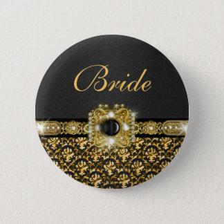 黒い金ゴールドのダマスク織の結婚式の花嫁 5.7CM 丸型バッジ