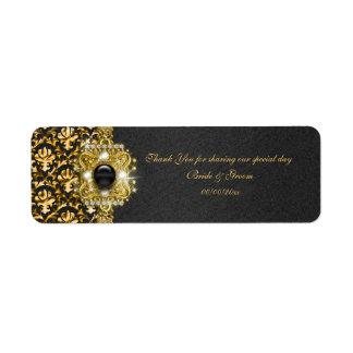 """黒い金ゴールドのダマスク織の結婚式は""""感謝していしています"""" ラベル"""