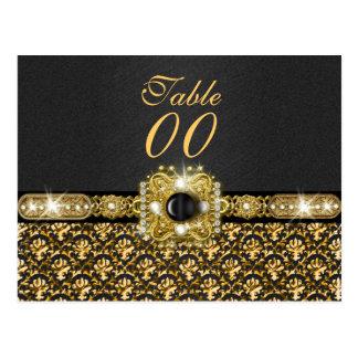 """黒い金ゴールドのダマスク織の""""テーブル数""""結婚式 ポストカード"""