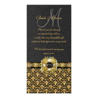 """黒い金ゴールドのダマスク織は""""感謝していしています"""" カード"""