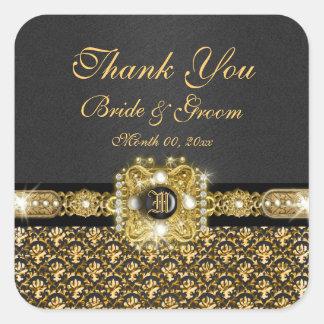 """黒い金ゴールドのダマスク織は""""感謝していしています"""" スクエアシール"""