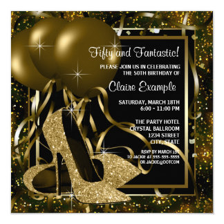 黒い金ゴールドのハイヒールの女性の誕生会 カード