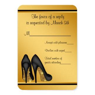 黒い金ゴールドのハイヒールRSVP カード