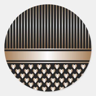 黒い金ゴールドのハートのリボンの円形のステッカー ラウンドシール