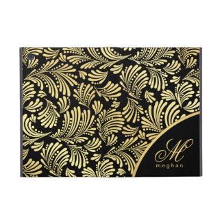 黒い金ゴールドのモノグラムのフォリオiPad Mini iPad Mini ケース