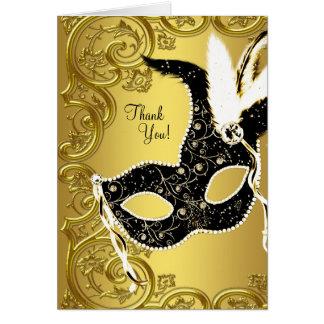黒い金ゴールドの仮面舞踏会のパーティーのサンキューカード カード