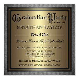 黒い金ゴールドの卒業 カード