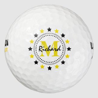 黒い金ゴールドの星のモノグラム ゴルフボール