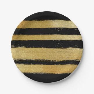 黒い金ゴールドの模造のな葉のモダンなブラシストロークは縞で飾ります ペーパープレート