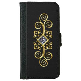 黒い金ゴールドの渦巻のダイヤモンドのデザインのiPhoneのウォレットケース iPhone 6/6s ウォレットケース
