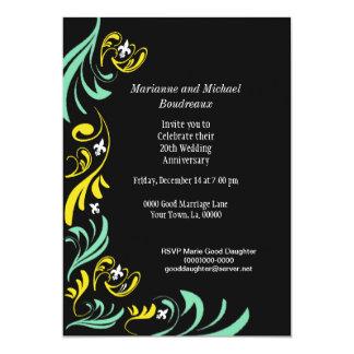 黒い金ゴールドの白人の緑の(紋章の)フラ・ダ・リのつる植物のパーティー 12.7 X 17.8 インビテーションカード