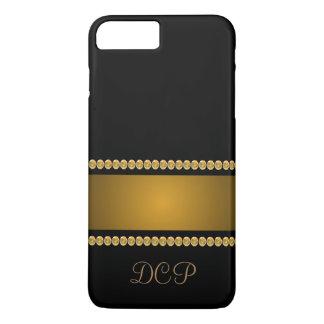 黒い金ゴールドの金属一見のモノグラムのCricketDianeの芸術 iPhone 8 Plus/7 Plusケース