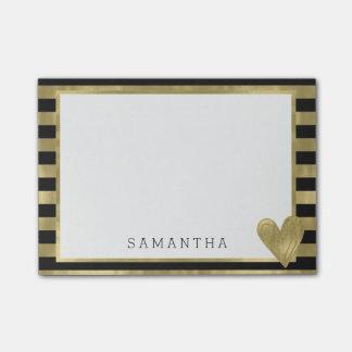 黒い金ゴールドの魅力は名前入りなハートと縞で飾ります ポスト・イット®ノート