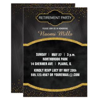 黒い金ゴールドの黒板の先生の退職パーティー カード