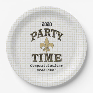 黒い金ゴールドの(紋章の)フラ・ダ・リのパーティの時間 ペーパープレート