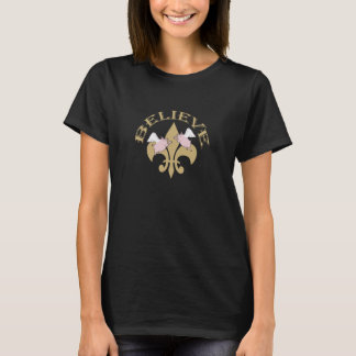 黒い金ゴールドの(紋章の)フラ・ダ・リのブタは信じます飛びます Tシャツ