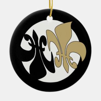 黒い金ゴールドの(紋章の)フラ・ダ・リの陰陽 セラミックオーナメント