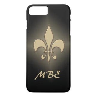 黒い金ゴールドの(紋章の)フラ・ダ・リ iPhone 8 PLUS/7 PLUSケース