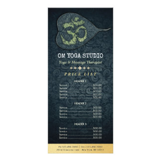 黒い金ゴールドのBodhiの葉OMの記号のヨガの値段表 ラックカード