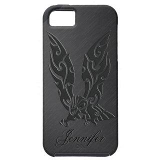 黒い金属背景及び黒いワシ iPhone SE/5/5s ケース